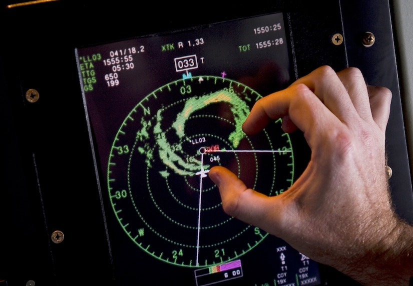 Lt. Col. John Gallagher roughly calculates the size of Hurricane Igor's eyewall onboard a WC-130J Hercules during a mission Sept. 16, 2010, over the Atlantic Ocean. Colonel Gallagher is a flight meteorologist with the Air Force Reserve Command's 53rd Weather Reconnaissance Squadron at Keesler Air Force Base. Miss.  (U.S. Air Force photo/Staff Sgt. Michael B. Keller)