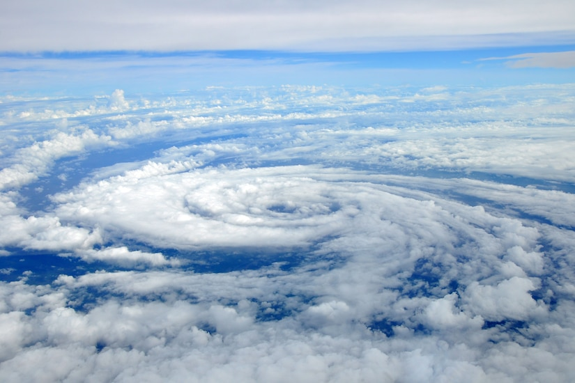 """The center of circulation of Tropical Storm Lee can be seen as the WC-130J aircraft flys over Tropical Storm Lee Sept. 3. The 53rd Weather Reconnaissance Squadron """"Hurricane Hunters,"""" were heading back to Keesler Air Force Base in Biloxi, Miss, after penetrating the storm Sept. 2. (U.S. Air Force photo by Staff Sgt. Valerie Smock)"""