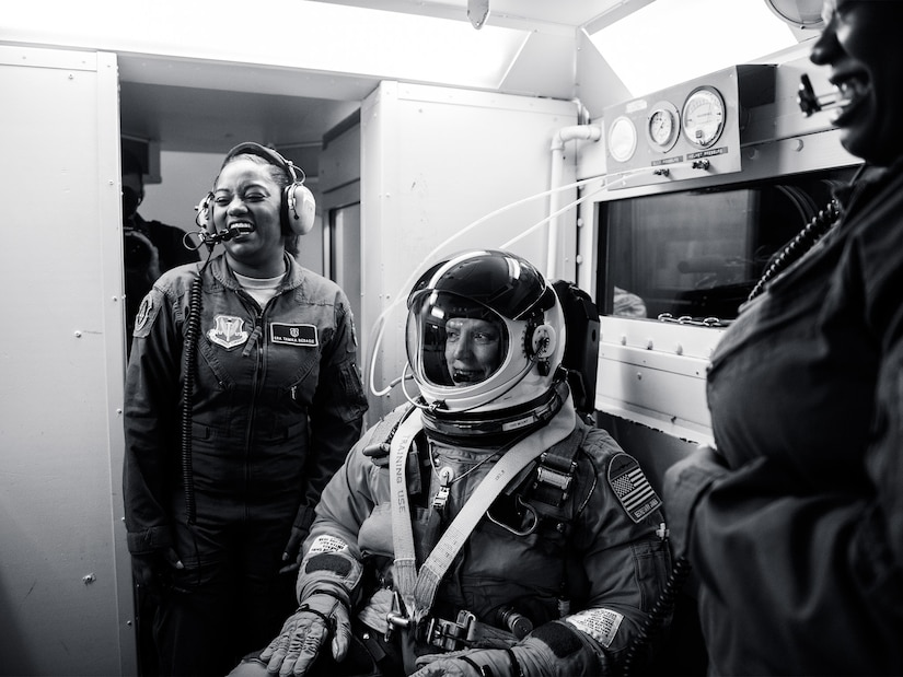 Secretary of the Air Force Deborah Lee James fitted with a full pressure suit and helmet prior a flight in a U-2 Dragon Lady. James' orientation flight provided her with a firsthand understanding of the demands of high-altitude intelligence, surveillance and reconnaissance missions. Photo // Jeffrey Allen