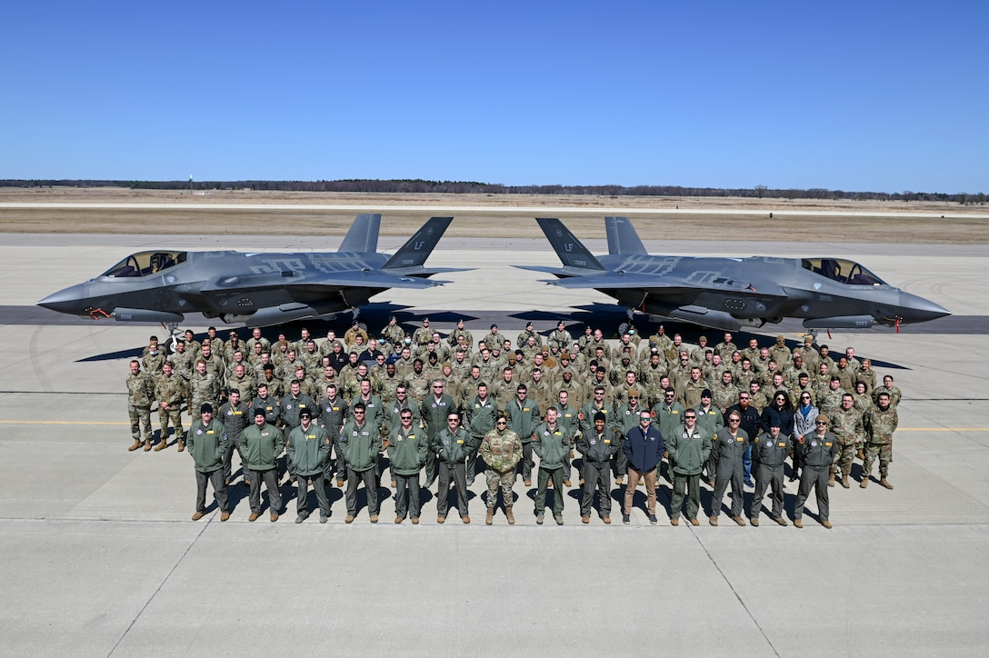 Members assigned to Luke Air Force Base, Arizona, stand together for a photo after the conclusion of Northern Thaw at Volk Field Air National Guard Base, Wisconsin, April 1, 2021.The two-week exercise total force exercise provided high-end combat training.