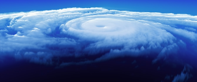 3d simulation of a hurricane from above.