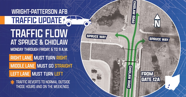 WPAFB Gate 15A Closure (Air Force graphic by David Clingerman)
