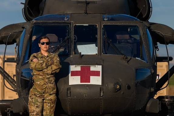 U.S. Army Spc. Donna Wauthier, a flight medic with Charlie Company, 2-104th General Support Aviation Battalion, 28th Expeditionary Combat Aviation Brigade, was one medic who responded immediately to care for wounded civilians after a rocket attack in February. (U.S. Army photo by Sgt. Eric Smith)