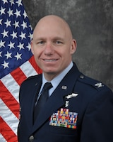 Col. Steven J. Theohares, 911th Aeromedical Staging Squadron commander, poses for his official portrait.