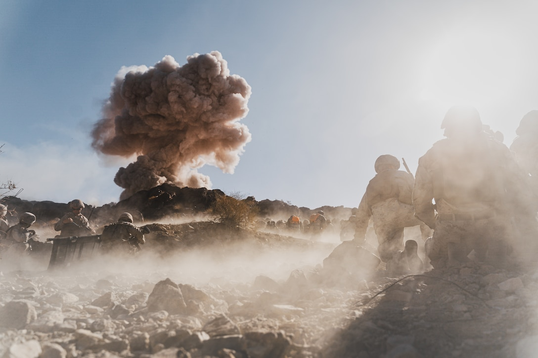U.S. Marines with Bravo Company, 1st Battalion, 5th Marine Regiment, 1st Marine Division, detonate obstacle-breaching Bangalore torpedoes during supported company attacks at Range 400 while participating in Integrated Training Exercise 3-21 at Marine Corps Air Ground Combat Center, Twentynine Palms, California, April 12, 2021. The purpose of ITX is to create a challenging, realistic training environment that produces combat-ready forces capable of operating as an integrated Marine Air Ground Task Force. (U.S. Marine Corps photo by Lance Cpl. Colton Brownlee)