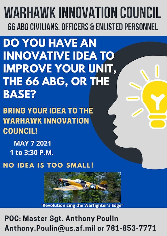 Leaders from the 66th Air Base Group will host a Warhawk Innovation Council pitch day at Hanscom Air Force Base, Mass., May 7. (U.S. Air Force graphic by Lauren Russell)