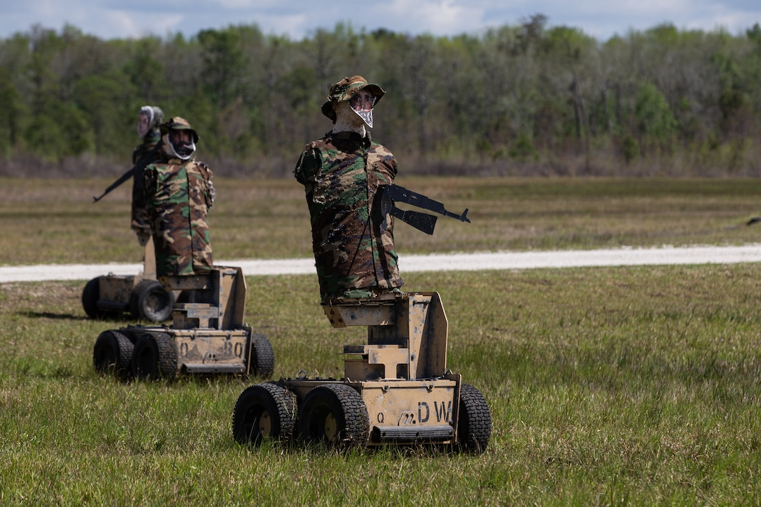Autonomous robot targets are utilized during a squad fire and maneuver training event on Camp Lejeune, N.C., April 13, 2021. Marines with Alpha Company, 1st Battalion, 6th Marine Regiment, 2d Marine Division, conducted the exercise to maintain proficiency in squad combat maneuvers and the ability to operate in adverse environments. This training is the next step on the road to becoming an apex battalion task force. (U.S. Marine Corps photo by Lance Cpl. Jennifer E. Reyes)