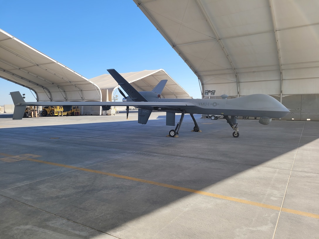 The Marine Corps' first MQ-9A at an undisclosed location in the Central Command area of responsibility. The MQ-9A completed 10,000 flight hours in support of Marine Corps Forces, Central Command operations on March 31, 2021. (Photo courtesy of the U.S. Marine Corps).