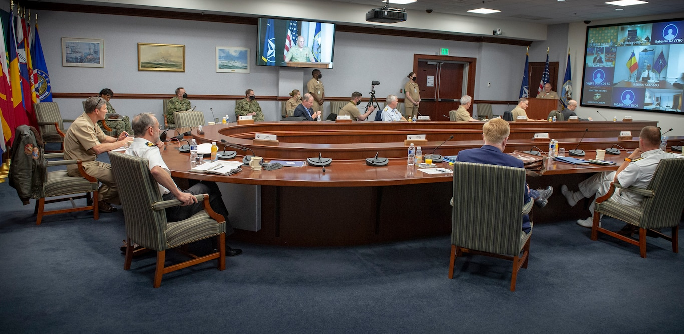 Admiral Mike Gilday, U.S. Navy Chief of Naval Operations, speaks to multinational leaders during the Combined Joint Operations from the Sea (CJOS) Center of Excellence (COE).
