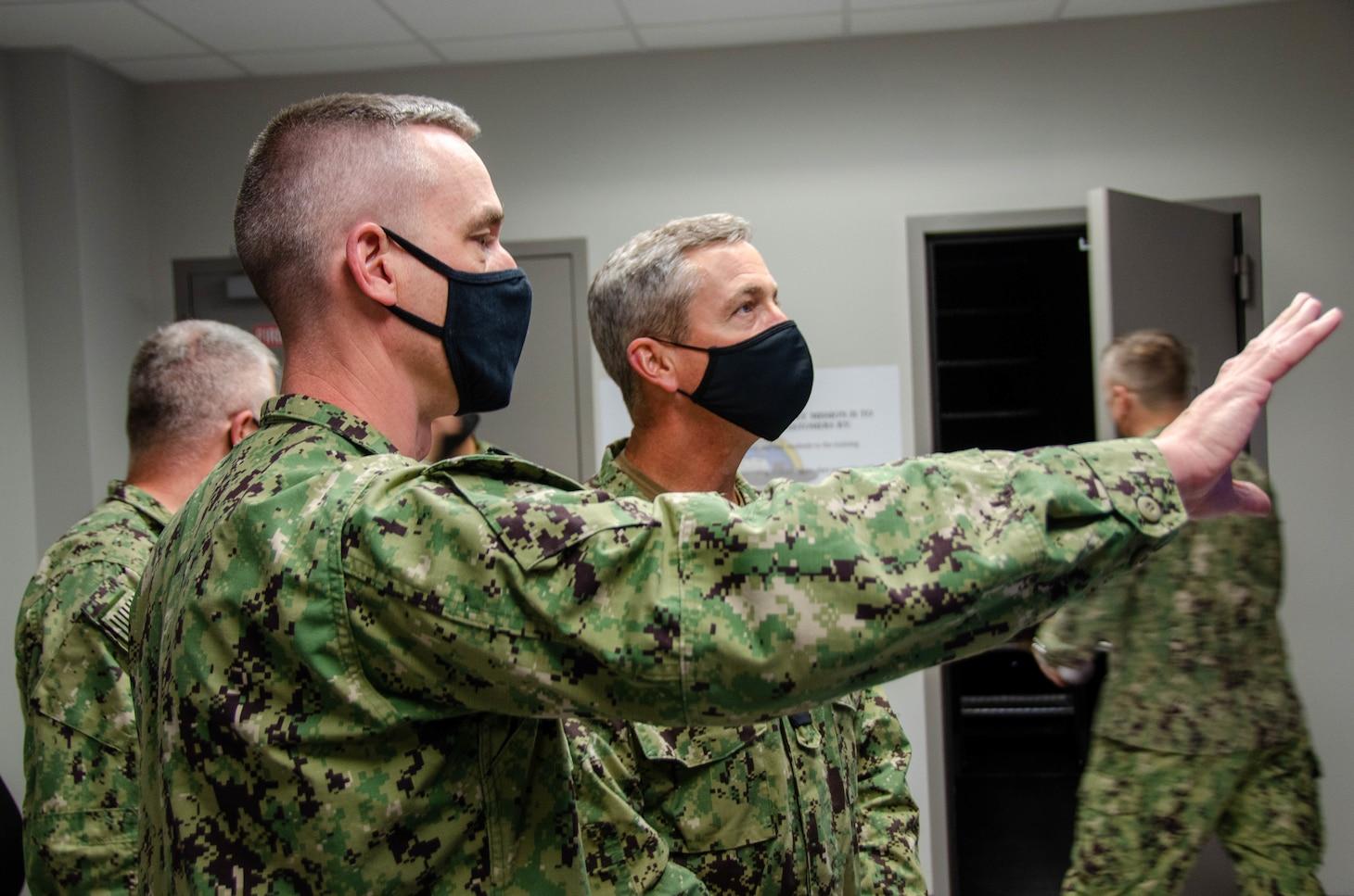 GROTON, Conn. (April 14, 2021) Rear Adm. Pete Garvin, commander, Naval Education and Training Command, visits Naval Submarine School. (U.S. Navy photo by Charles E. Spirtos)