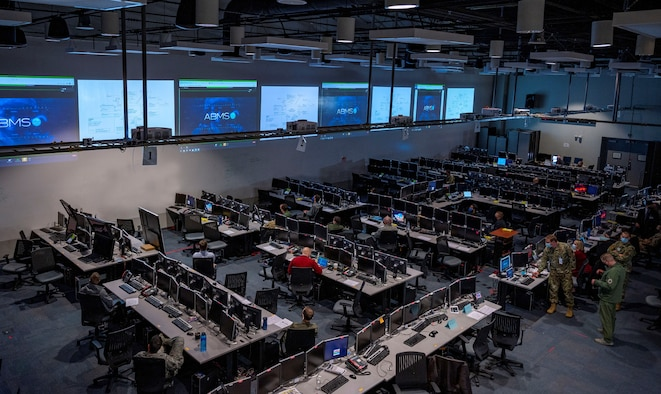 overview of the Shadow Operations Center at Nellis showing the consoles and screens