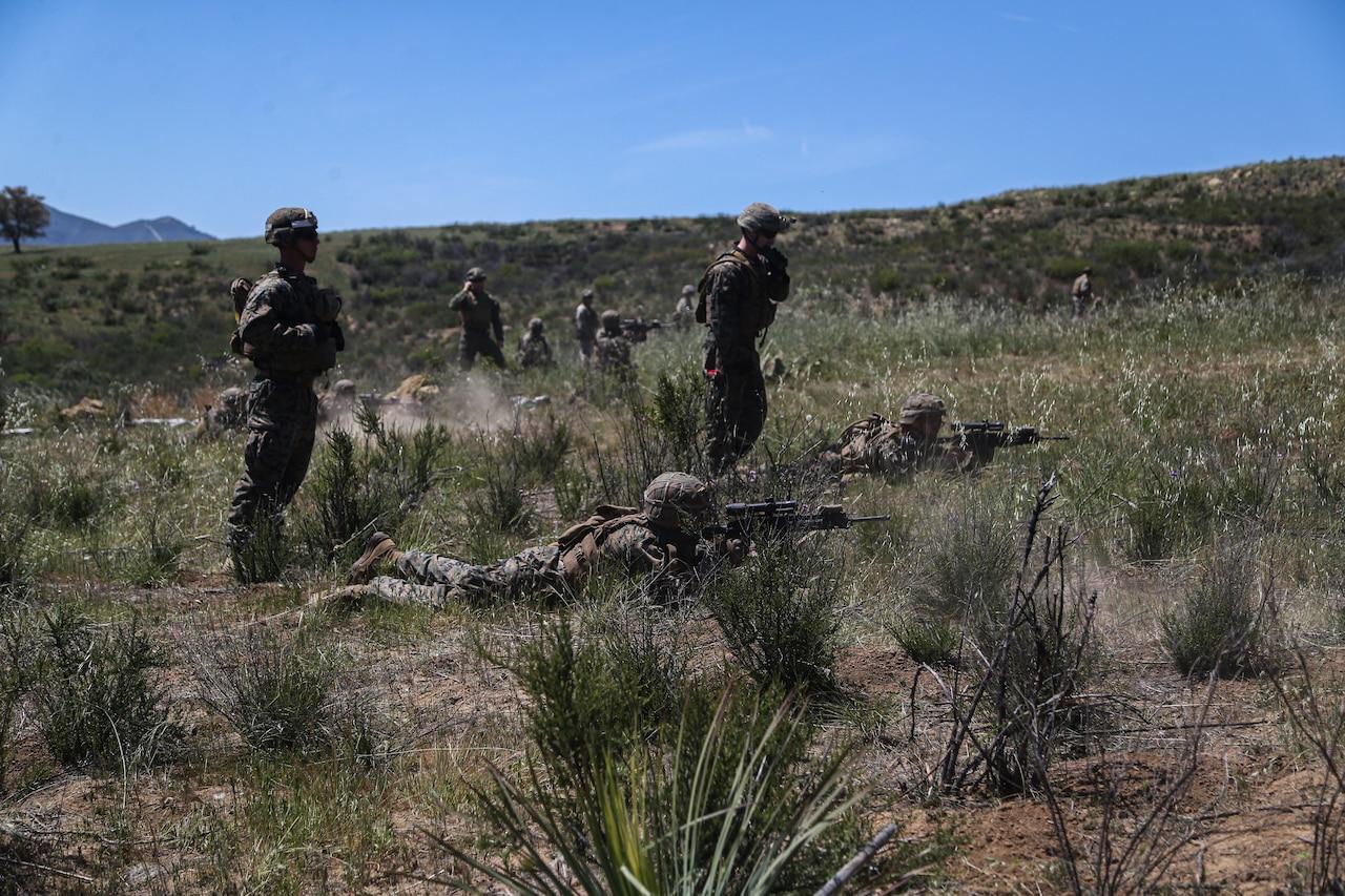 Marines train in the desert.