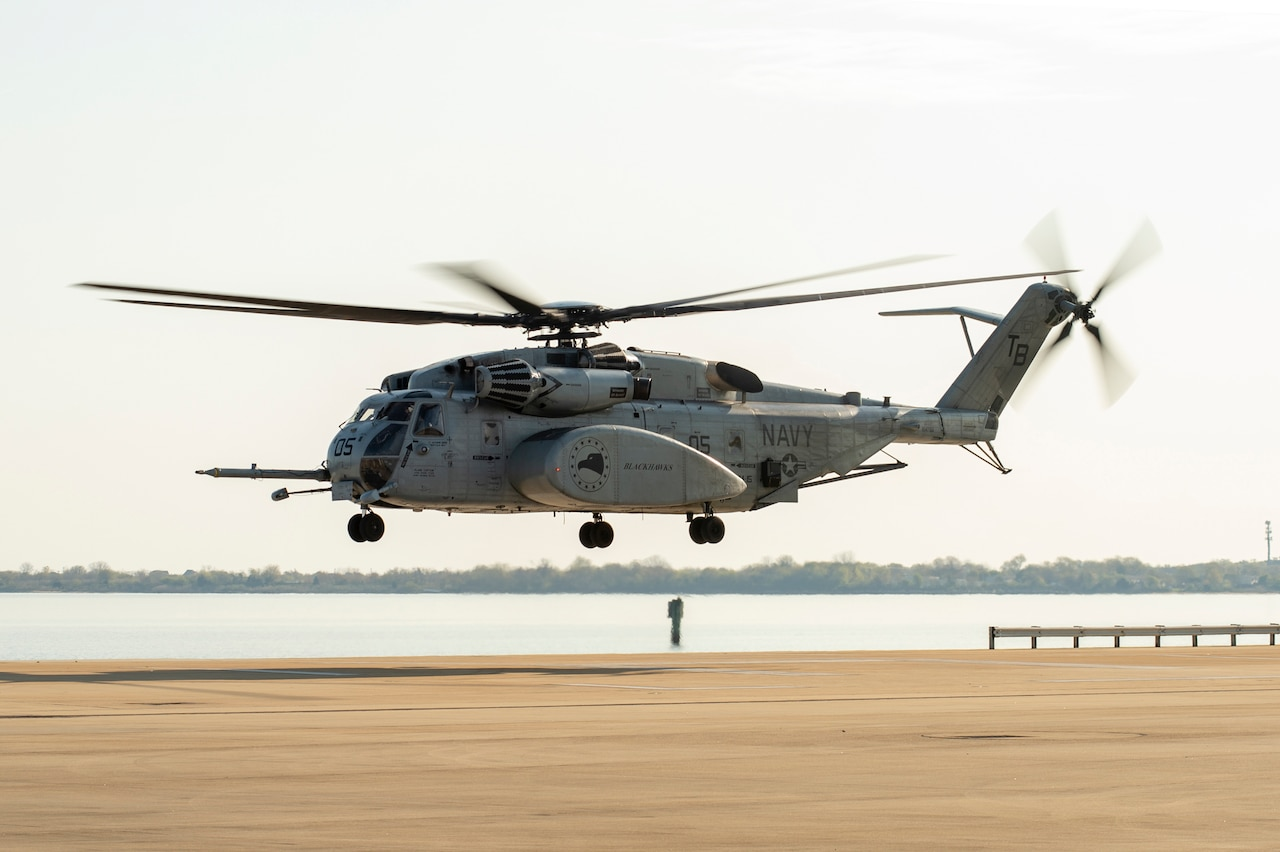 A helicopter takes off.