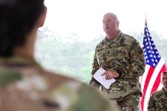 """U.S. Army Reserve Command Sgt. Maj. Michael R. Mielke, senior enlisted advisor for the 352nd Civil Affairs Command, speaks during the award ceremony for the 2021 U.S. Army Civil Affairs and Psychological Operations Command (Airborne) Best Warrior Competition at Fort Jackson, S.C., April 10, 2021. The USACAPOC(A) BWC is an annual competition that brings in the best Soldiers across USACAPOC(A) to earn the title of """"Best Warrior"""" among their peers after being evaluated on their individual ability to adapt and overcome challenging scenarios and battle-focused events, testing their technical and tactical abilities under stress and extreme fatigue."""