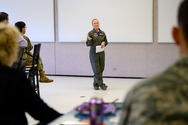 Col. Anita Feugate Opperman, 341st Missile Wing commander, speaks to JROTC cadets April 16, 2021, at Great Falls High School, Mont.
