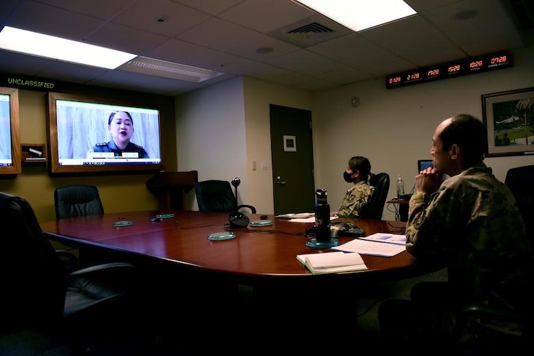Photo of U.S. Air Force Airmen attending a virtual brief