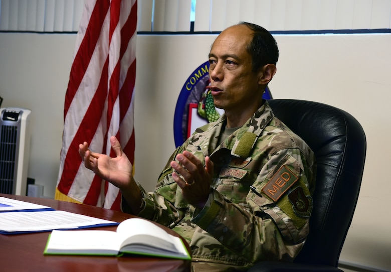 A photo of a U.S. Air Force officer speaking