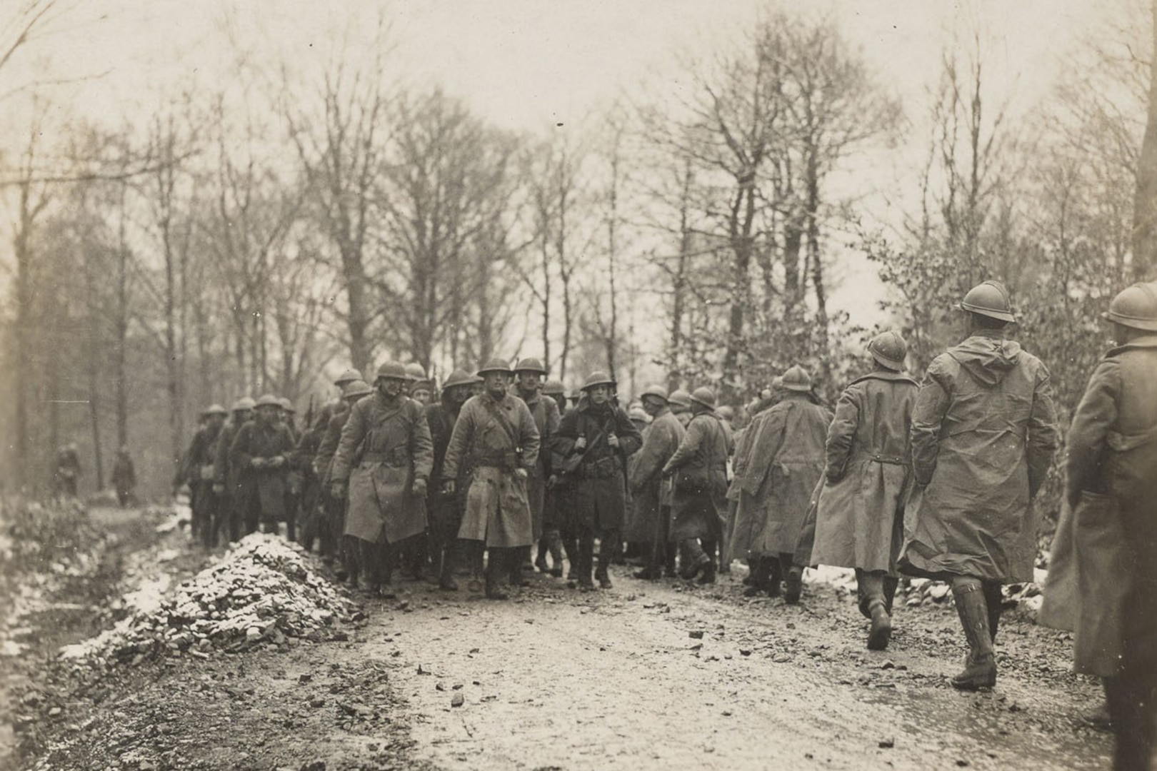 Soldiers march in formation.