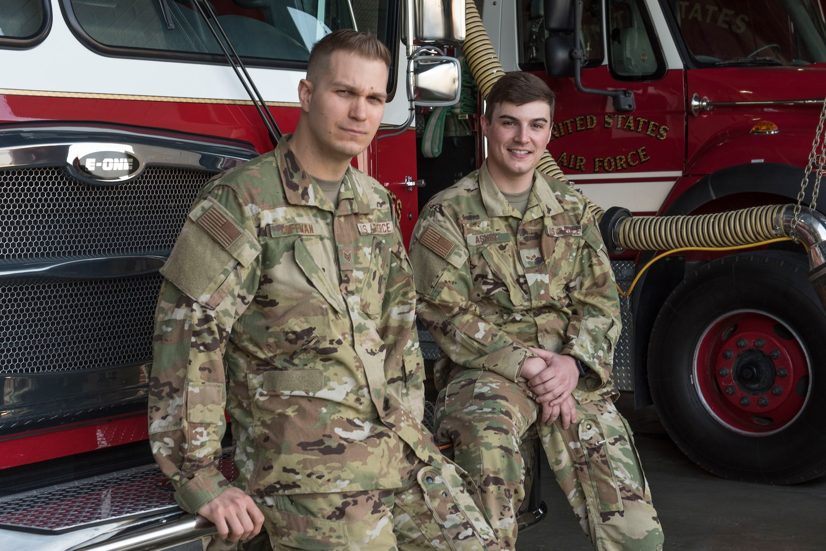 U.S. Air Force Staff Sgt. Daniel Coffman and Senior Airman Justin Ashby, firefighters for the 167th Civil Engineering Squadron, recently saved a man's life, pulling him out of a burning house. The firefighters credit the feat to their intensive training.