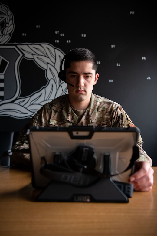 Senior Airman Christopher Daniel, a 28th Operation Support Squadron air traffic control (ATC) trainer, uses the new ATC cloud-based training system at Ellsworth Air Force Base, S.D., April 15, 2021.