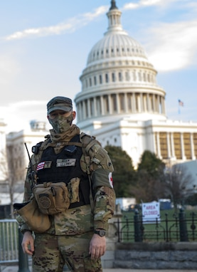 U.S. Army Sgt. Nicholas Allen, a medic with the District of Columbia National Guard, supports the medical needs of service members as they augmented Capitol Police and other local, state, and federal agencies on Jan. 7, 2021. National Guard Soldiers and Airmen from several states have traveled to Washington to provide support to federal and district authorities leading up to the 59th Presidential Inauguration. (National Guard photo by Staff Sgt. Erica Jaros)