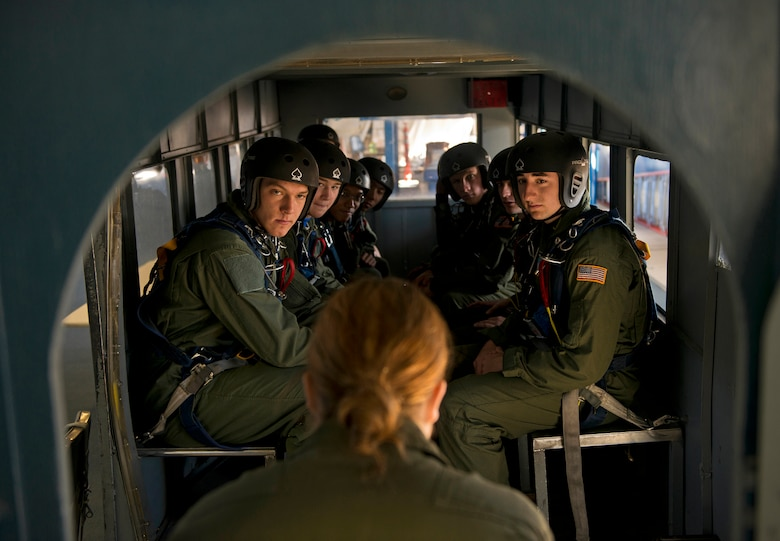 Cadets from the U.S. Air Force Academy conduct forty hours of ground training to learn the ins and outs of parachuting, everything from standing in the aircraft door, pulling their cords, emergency procedures and learning how to land properly. The course officially called AM 490, is a jump school that teaches leadership traits and is taught and organized for cadets by cadets. (U.S. Air Force photo/Tech. Sgt. Bennie J. Davis III)