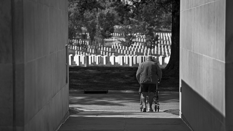 When he can, Bill Castle will pack his walker into the trunk of his car and head toward Arlington National Cemetery to visit his wife's grave. His visits used to be part of a weekly routine, but the journey has become more difficult, due to declining health.  (U.S. Air Force photo/Staff Sgt. Andrew Lee)