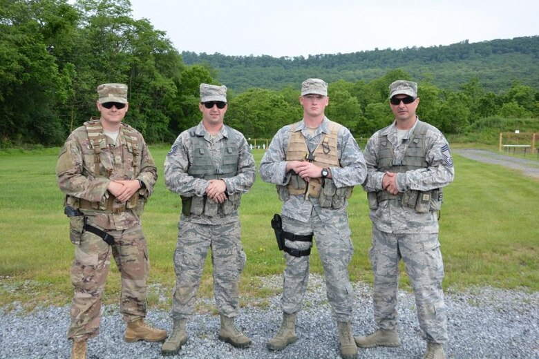 Members of the 171st Air Refueling Wing shooting team pose for a photo after a competition. Both soldiers and airmen compete in state and national competitions yearly. (courtesy photo)