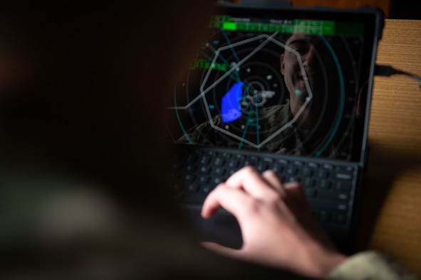 Senior Airman Christopher Daniel, a 28th Operation Support Squadron air traffic control (ATC) trainer, uses the new ATC cloud-based training system on Ellsworth Air Force Base, S.D., April 15, 2021.