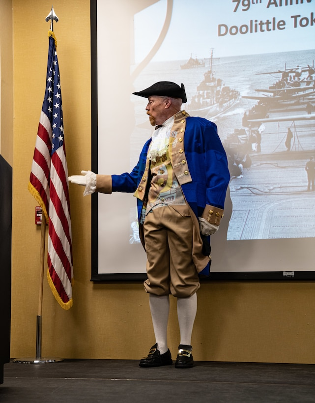 Jeffery VanCuren, the National Sojourners Black Hills Chapter secretary, recites a speech of endearment toward the U.S. flag during a 79th Doolittle Raid anniversary event at Ellsworth Air Force Base, S.D., April 16, 2021.  The Doolittle Raid was conducted 133 days after the bombing of Pearl Harbor in December 1941. (U.S. Air Force photo by Airman Jonah Fronk)
