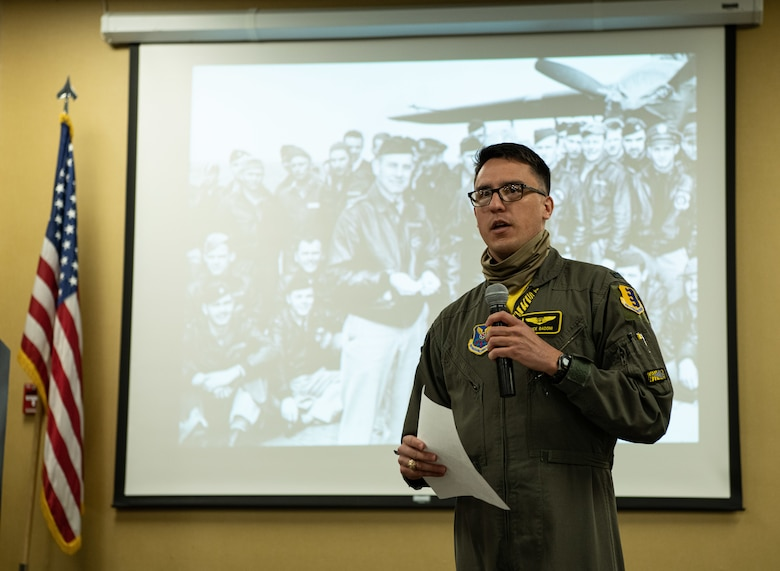 First Lt. Lance Badoni, a 37th Bomb Squadron weapon systems officer, speaks to the history of the Doolittle Raid during a remembrance ceremony on Ellsworth Air Force Base, S.D., April 16, 2021. The operation originally took place on April 18, 1942 after Japanese forces launched a surprise bombing on Pearl Harbor.  (U.S. Air Force photo by Airman Jonah Fronk)