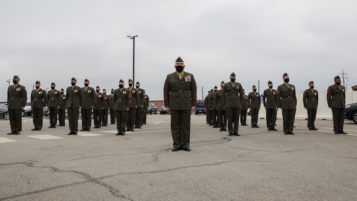 U.S. Marine Corps Forces - Korea Marines stand at attention during a dedication ceremony in honor of U.S. Marine Corps Brig. Gen. Robert E. Galer, a combat aviator and holder of the Nation's highest decoration, the Medal of Honor, on Camp Humphreys, Pyeongtaek-Si, Republic of Korea, April 16, 2021.