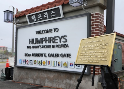 U.S. Army Garrison (USAG) Camp Humphreys dedicated its CPX gate in honor of U.S. Marine Corps Brig. Gen. Robert E. Galer, a combat aviator and holder of the Nation's highest decoration, the Medal of Honor, on the base in Pyeongtaek-Si, Republic of Korea, April 16, 2021.