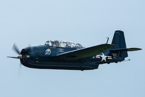A TBM-3E Avenger from the Commorative Air Force performs an aerial demonstration over Bowman Field in Louisville, Ky., April 17, 2021, as part of the Thunder Over Louisville air show. The annual event featured more than 20 military and civilian air craft this year. (U.S. Air National Guard photo by Dale Greer)