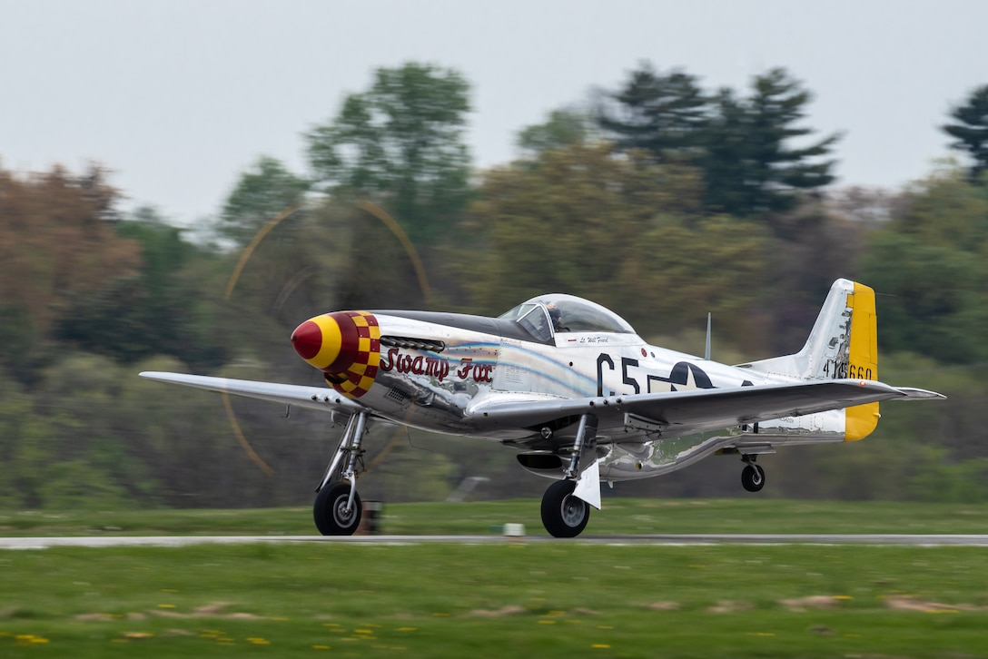 A P-51 Mustang taxies at Bowman Field in Louisville, Ky., April 17, 2021, prior to performing in the Thunder Over Louisville air show. The aircraft, nicknamed Swamp Fox, is now privately owned but once belonged to the active inventory of the Kentucky Air National Guard following World War II. (U.S. Air National Guard photo by Dale Greer)