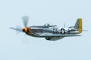 A P-51 Mustang performs an aerial demonstration over Bowman Field in Louisville, Ky., April 17, 2021, as part of the Thunder Over Louisville air show. The aircraft, nicknamed Swamp Fox, is now privately owned but once belonged to the active inventory of the Kentucky Air National Guard following World War II. (U.S. Air National Guard photo by Dale Greer)
