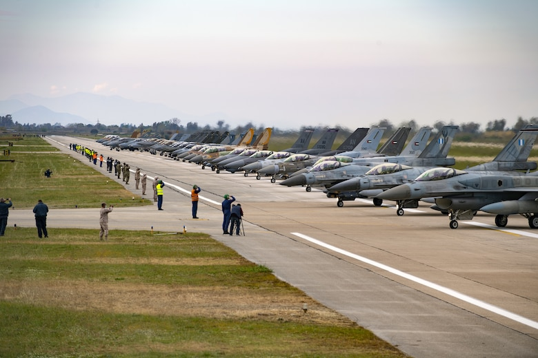 Aircraft from several countries participating in INIOCHOS 21 line up prior to an elephant walk at Andravida Air Base, Greece, April 18, 2021. Elephant walks are a show of force, demonstrating the might and power of the U.S. Air Force and its allies. The 510th Fighter Squadron participated in INIOCHOS 21, a Hellenic air force-led exercise designed to enhance the interoperability and skills of allied and partner air forces in the accomplishment of joint operations and air defenses. (U.S. Air Force photo by Airman 1st Class Thomas S. Keisler IV)