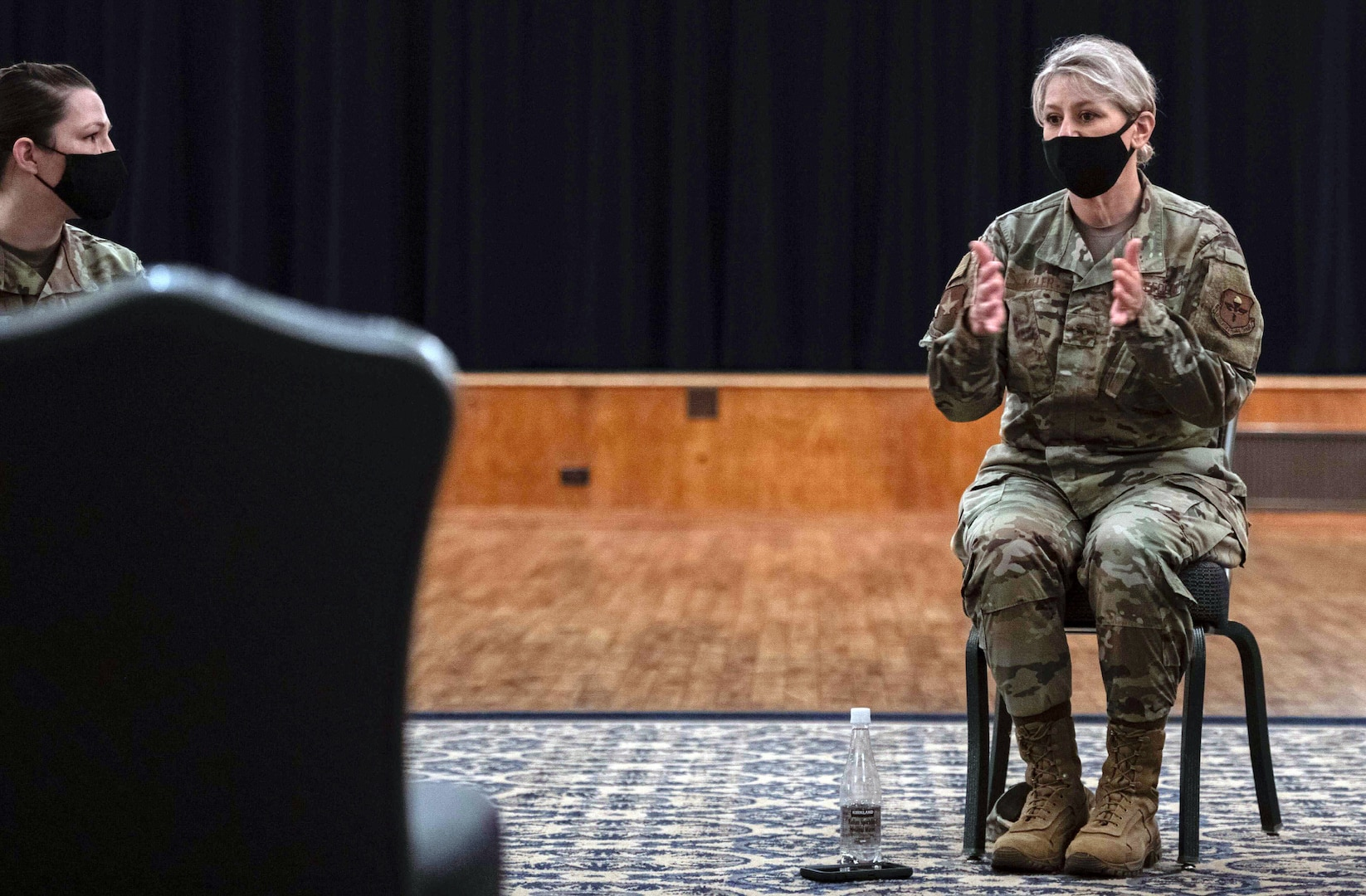 U. S. Air Force Brig. Gen Caroline M. Miller, 502nd Air Base Wing and Joint Base San Antonio commander, speaks to a group of Airmen and JBSA members during a tough conversation roundtable at Joint Base San Antonio-Randolph April 14. Miller expressed to them how these beliefs are damaging and why diversity is important in the military.