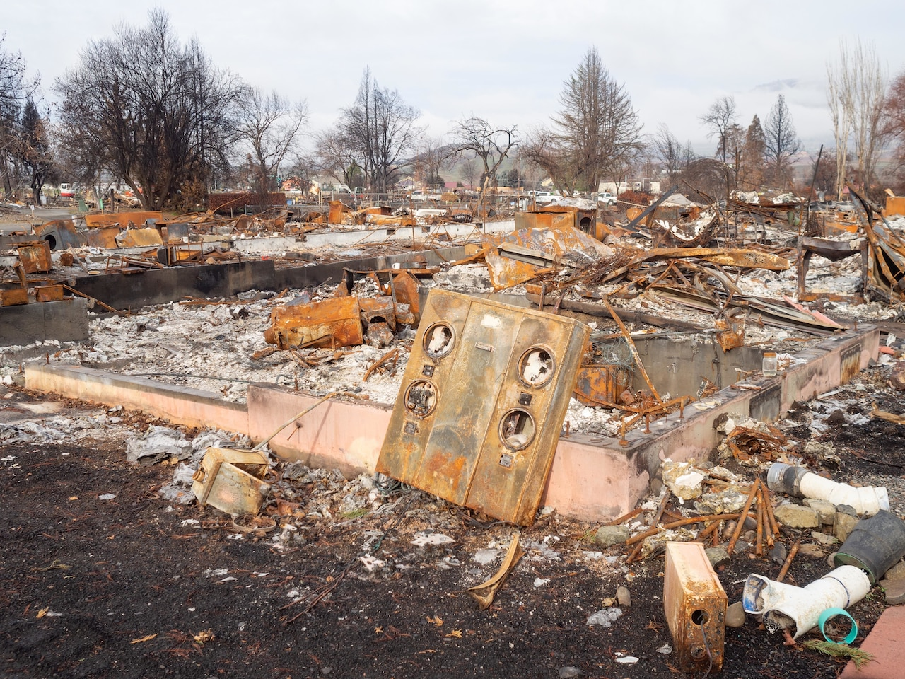 Debris and damage following a fire.