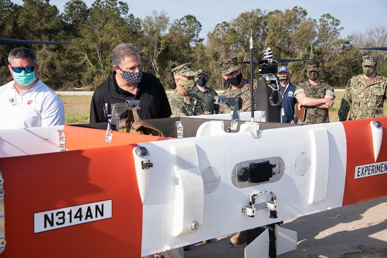 The Honorable James F. Geurts, acting Under Secretary of the Navy, visited Camp Lejeune, N.C., on April 9 to observe emerging technologies being demonstrated at the Naval Integration in Contested Environments Advanced Naval Technology Exercise 2021. Lt. Gen. Eric Smith, U.S. Marine Corps deputy commandant for Combat Development and Integration, and Vice Adm. James Kilby, deputy chief of naval operations for Warfighting Requirements and Capabilities  accompanied Geurts during the visit. NICE ANTX 2021, which runs through April 15, brings together private industry, academia and government labs to showcase technologies that incorporate new concepts in naval warfare, such as Distributed Maritime Operations and Expeditionary Advanced Base Operations. The exercise also provides an avenue for the military to assess capabilities and technology owners to receive feedback on their product's efficacy.