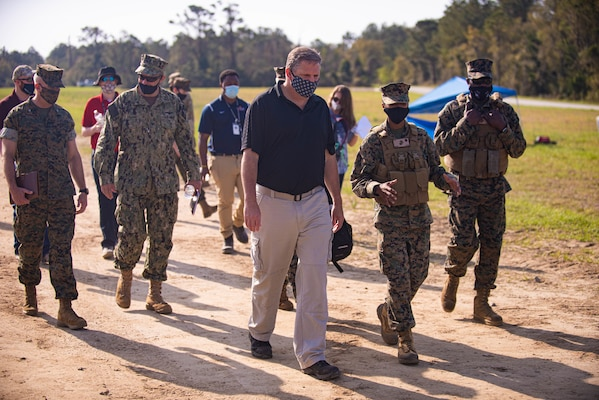 The Honorable James F. Geurts, acting Under Secretary of the Navy, visited Camp Lejeune, N.C., on April 9 to observe emerging technologies being demonstrated at the Naval Integration in Contested Environments (NICE) Advanced Naval Technology Exercise (ANTX) 2021.