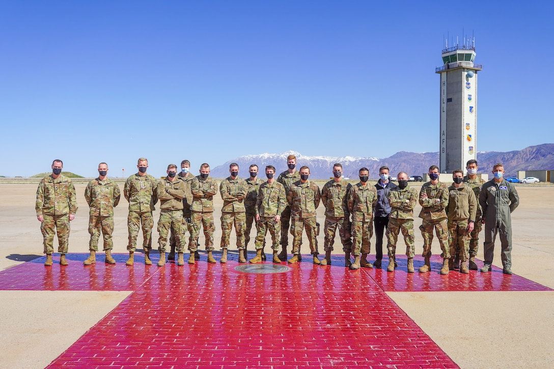 Lt. Col. Richard Reed (left), Air Force ROTC Detachment 860 commander, poses Air Force ROTC cadets at Hill Air Force Base, Utah, April 9, 2021.