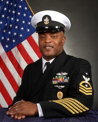 210419-N-SI161-002 DAHLGREN, Va. (April 19, 2021) Official portrait of Command Senior Chief Carl Christopher. (U.S. Navy photo by Michael Bova)