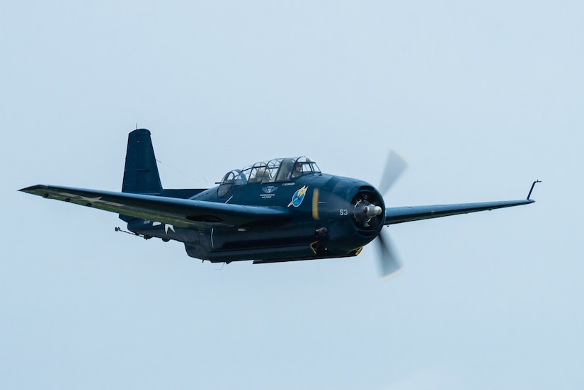 A TBM-3E Avenger from the Commemorative Air Force performs an aerial demonstration over Bowman Field in Louisville, Ky., April 17, 2021, as part of the Thunder Over Louisville air show. The annual event featured more than 20 military and civilian air craft this year. (U.S. Air National Guard photo by Dale Greer)