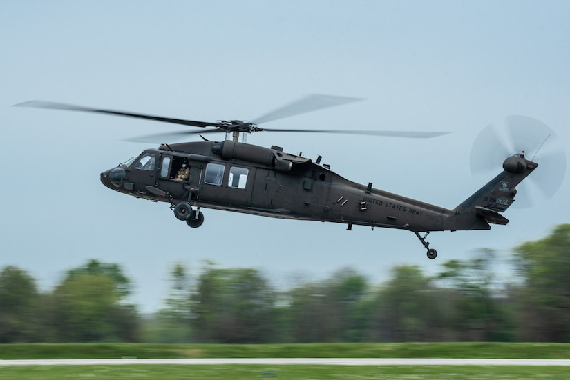 A U.S. Army Reserve UH-60 Blackhawk helicopter performs an aerial demonstration over Bowman Field in Louisville, Ky., April 17, 2021, as part of the Thunder Over Louisville air show. The annual event featured more than 20 military and civilian air craft this year. (U.S. Air National Guard photo by Dale Greer)