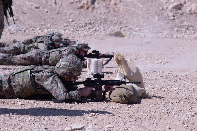 Soldiers in the 192nd Military Police Detachment from the Nebraska Army National Guard perform weapons familiarization at a range at the Joint Training Center in Jordan. The first step in their familiarization with the M4 is zeroing with their optics.