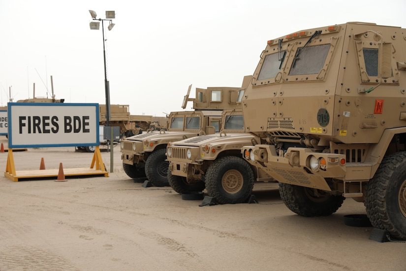 As part of the Army's Prepositioned Stock program, equipment is staged and organized by company based on the infantry, field artillery, and sustainment brigades. The 401st Army Field Support Battalion-Kuwait is tasked with organizing and managing the lots and all the equipment in them in order to meet the requirements of APS-5. The 401st AFSB manages the equipment lots on Camp Arifjan, Kuwait. (U.S. Army photo by Capt. Elizabeth Rogers)