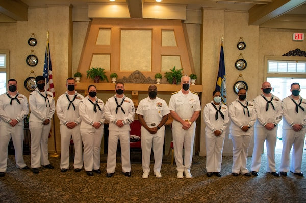 Sailors pose for a group photo after the Commander, Naval Air Force Atlantic Sailor of the Year announcement ceremony at Sewell's Point Golf Course.