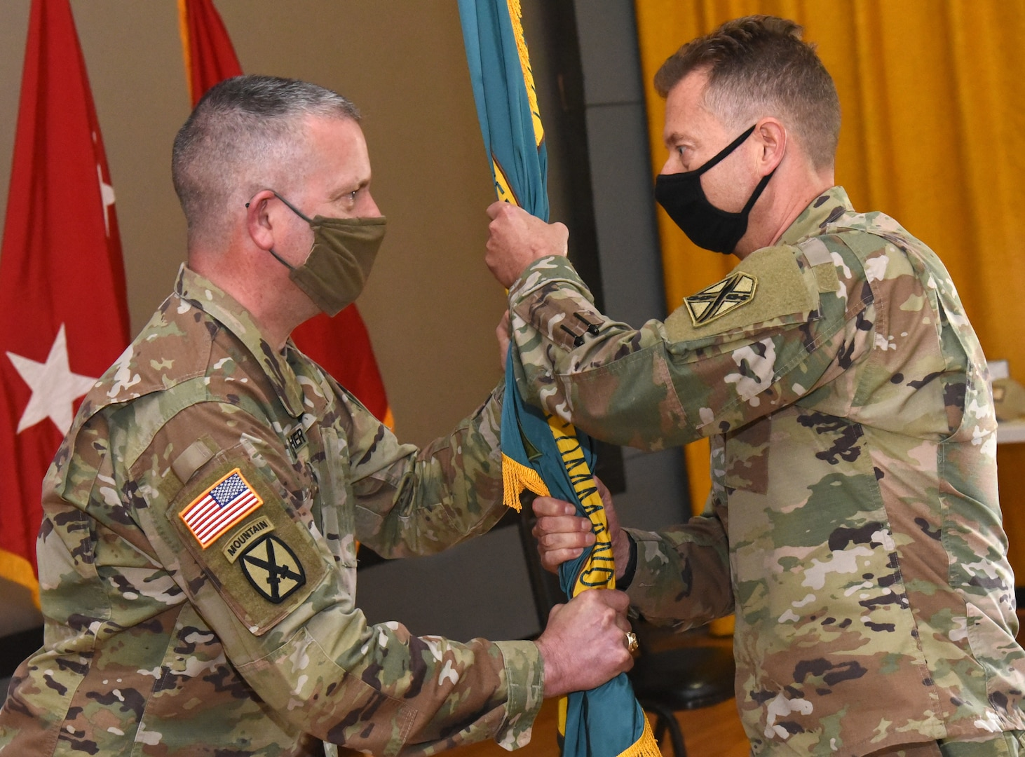 Col. Timothy D. Pillion takes command of Maneuver Training Center Fort Pickett from Col. Paul C. Gravely during a ceremony April 16, 2021, at Fort Pickett, Virginia.