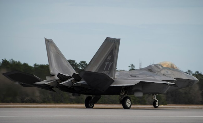 A 43rd Fighter Squadron Raptor roars down the runway Nov. 30 at Eglin Air Force Base, Fla.